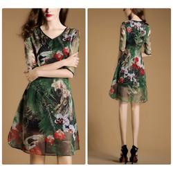 Đầm suông họa tiết hoa cao cấp
