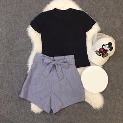 Mimihouse - Set áo thun quần short cột nơ eo hàng thiết kế!