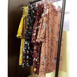 váy hoa khoét vai