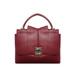 Túi xách nữ da bò thật cao cấp ELMI màu đỏ đô ETM682