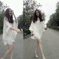Đầm Suông Tay Xoè Phối Ren