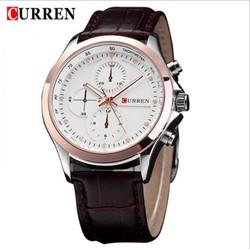 Đồng hồ nam Curren mặt trắng viền vàng