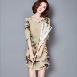 Hàng nhập: đầm suông họa tiết nhẹ nhàng quyến rũ N093
