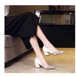 giày cao gót phối da dắn