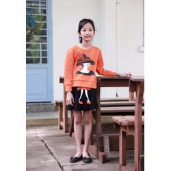 Set áo và chân váy in hình cô gái cho Bé - Cam - CIRINO
