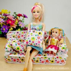 sofa vải hoạt tiết cho búp bê