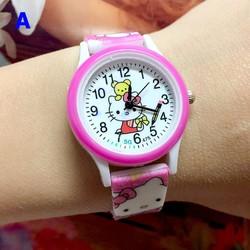 Đồng hồ hoạt hình kitty dễ thương bé gái