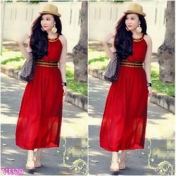 Đầm đỏ maxi hy lạp