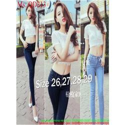 Quần jean nữ lưng cao ống ôm dài trẻ trung và phong cách QD313