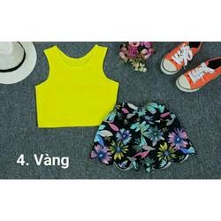 set áo croptop quần hoa