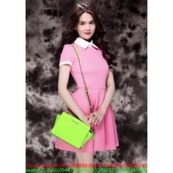 Đầm xòe màu hồng dễ thương thiết kế cổ sơ mi rất thời trang DXV30