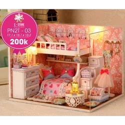 Mô hình phòng búp bê công chúa váy hồng xinh xinh