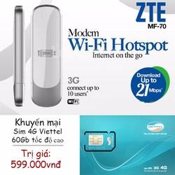 USB 3G WIFI + Sim 3G Viettel khuyến mại 60Gb giá cực sốc