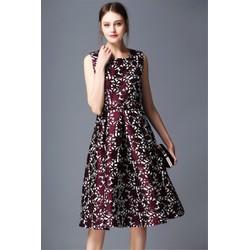 Đầm Xòe Gấm Hoa Đẹp  CAO CẤP A7003