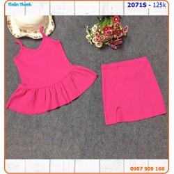 Set váy peplum 2 dây thun gân sành điệu cho bé ngày hè