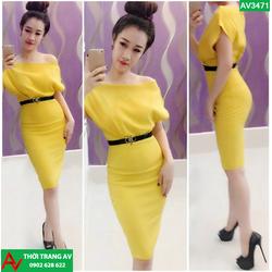 Đầm ôm body vàng lệch vai quyến rũ - kèm belt - AV3471