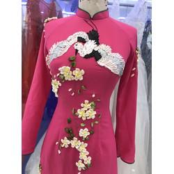 áo dai thue hồng sen sang trọng