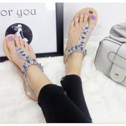 Giày sandal kết hoa quai T | giày sandal nữ quai kẹp