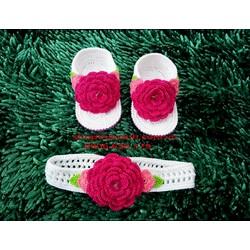 Set Băng Đô Và Giày Len Móc Handmade size 2 tháng đến 4 tháng