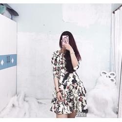 Đầm xòe 2 tầng họa tiết hoa