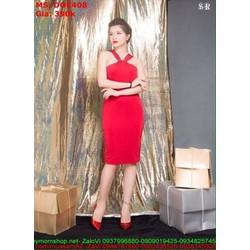 Đầm body kiểu cổ yếm màu đỏ sang trọng quý phái DOC408
