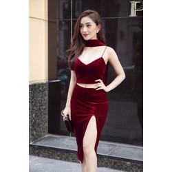 Bộ áováy nhung đỏ đẹpthiết kế croptop xẻ tà sexy M31176