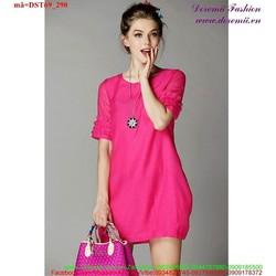 Đầm suông tay thiết kế xếp ly sành điệu uDST69