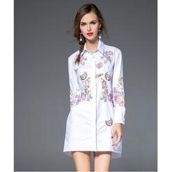 Đầm suông sơ mi họa tiết thêu KL00417
