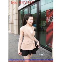 Sét áo kiểu dáng vest sang trọng và chân váy xòe thời trang SEV387