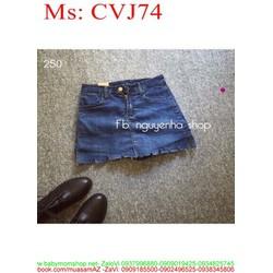 Chân váy jean giả quần rách xước sành điệu CVJ74