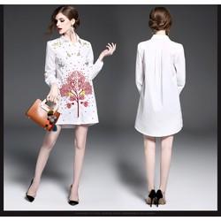 Đầm suông sơ mi họa tiết thêu KL00517