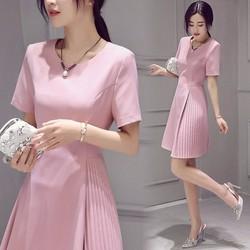 Đầm xòe cát giấy hồng dập ly siêu xinh - NR154