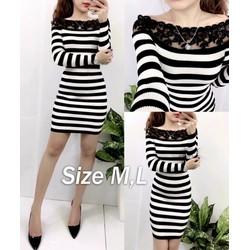 Đầm ôm body sọc trắng đen phối ren cổ xinh xắn - AV5012
