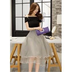 Đầm xoè trễ vai váy kiếng 951adv15