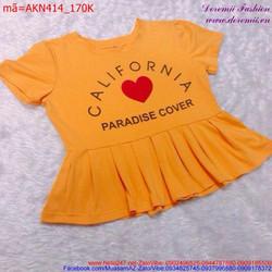 Áo kiểu nữ tay con in chữ California xinh xắn dễ thương AKN414
