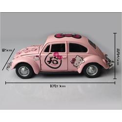 Mô hình xe Beetle Kitty màu hồng cho các bạn bày biệt thự búp bê