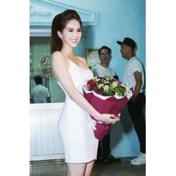 Đầm trắng đơn giảnthiết kế ôm body đẹp như Ngọc Trinh M31183