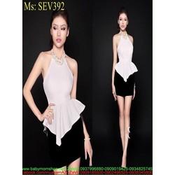 Sét áo cổ yếm dạng peplum phối chân váy bút chì sành điệu SEV392