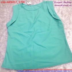 Áo kiểu nữ sát nách cổ tròn đơn giản sành điệu AKN417 View