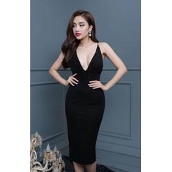 Đầm đen khoét cổ sâuthiết kế hở lưng đơn giản sexy M31204