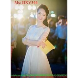 Đầm xòe công chúa trắng phối ren lưới sang trọng DXV344