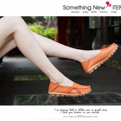 Giày mọi da nữ phong cách Hàn Quốc