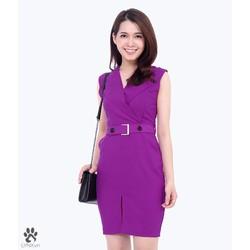 Đầm công sở cổ bẻ phối nút thời trang KL526