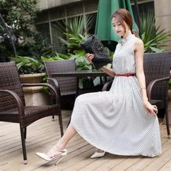 Đầm maxi Vintage chấm bi cổ trụ
