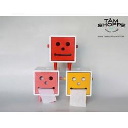 Hộp khăn giấy gỗ Robo mặt cười vuông