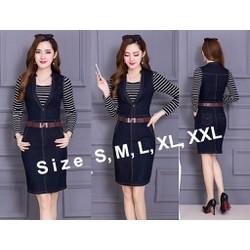 Đầm jean denim ôm body phối áo thun sọc tay dài cực xinh - AV5366