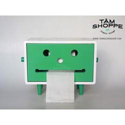 Hộp khăn giấy gỗ Robo mặt cười chữ nhật Lớn