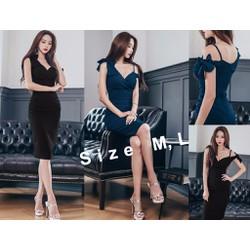 Đầm ôm body lệch vai thắt nơ cách điệu đầy sang trọng - AV5292