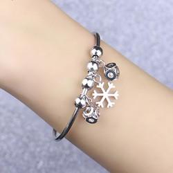 Vòng tay inox thời trang hoa tuyết cách điệu Hàn Quốc