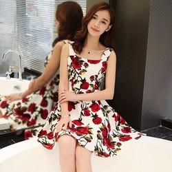 Đầm xòe hai dây họa tiết hoa hồng DU11834